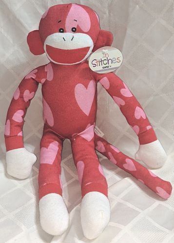 GANZ HV9194 In Stitches Red And Pink Heart Monkey 17 inch Ages 3 Plus