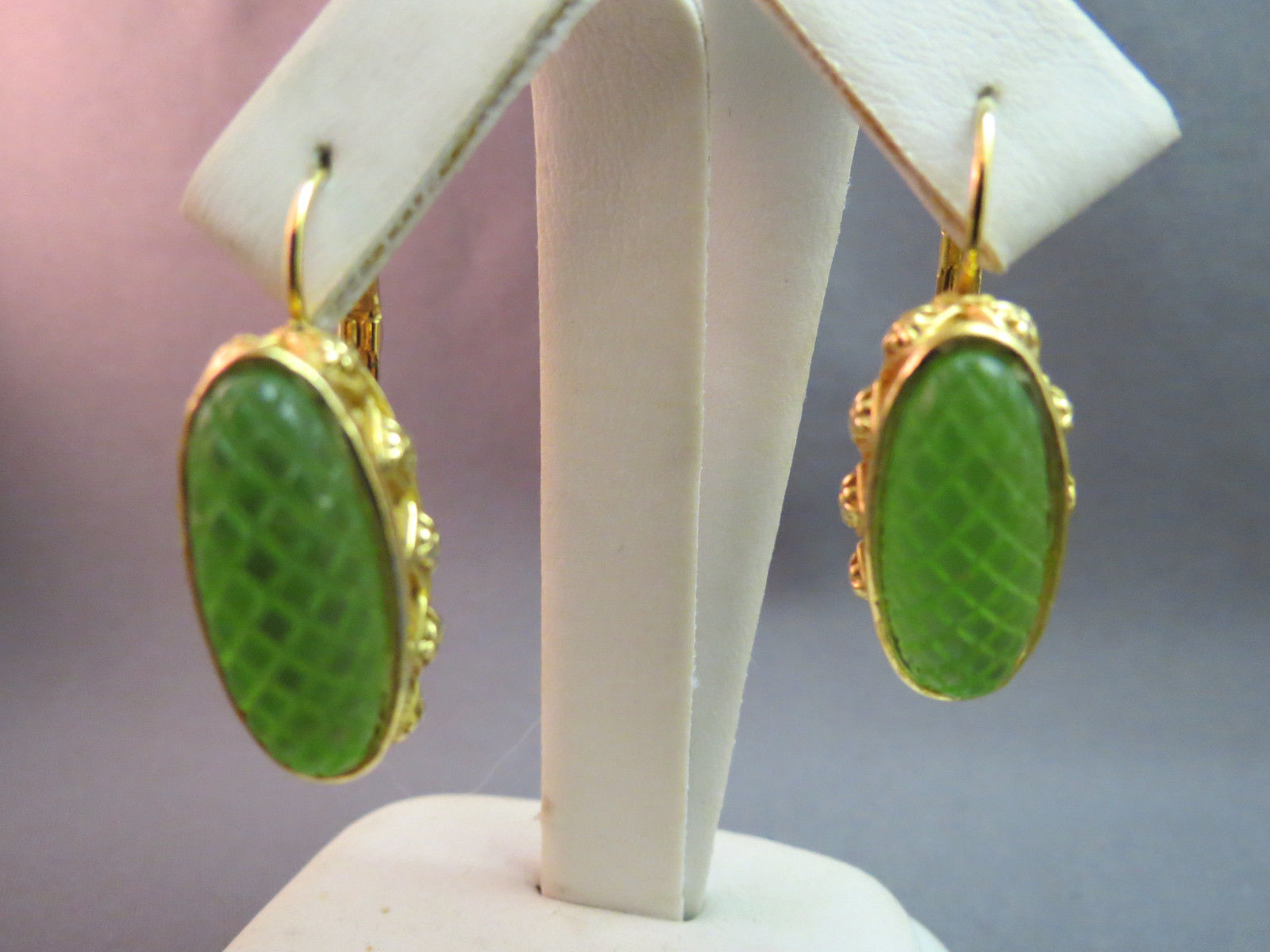 Primary image for Earrings Leverback Dangle Lime Green Resin Stones Brilliant Gold Plated Textured