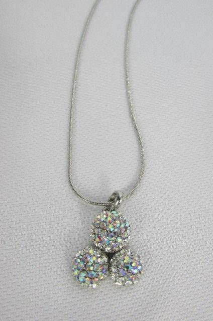 Damen Kurze Modische Halskette Metall 3 Bälle Silber Gold Strass Anhänger Bling image 4