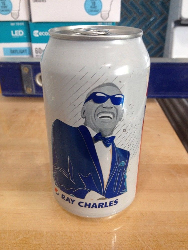 1 Full PEPSI RAY CHARLES COLA 12 oz Soda White Can Limited Ed 2018