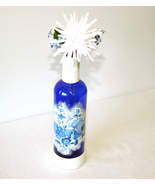 Navy Blue Decorative Liquor Bottle White Trim F... - $12.00