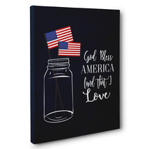 Mason Jar God Bless America Patriotic Canvas Wall Art - $29.21
