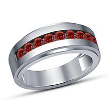 14K White Gold Finish Round Cut Garnet Mens Engagement Wedding Pinky Ban... - $67.98