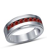 14K White Gold Finish Round Cut Garnet Mens Engagement Wedding Pinky Ban... - $67.99