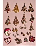 VTG CHRISTMAS TREE/SLEIGH/FLOWER/EARRINGS BROOCHES PINS GORGEOUS LOT OF 24 PCS - $199.00