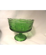 Forest Green Heritage Glass Compote Bowl Mid-Century Modern Footed - $17.99
