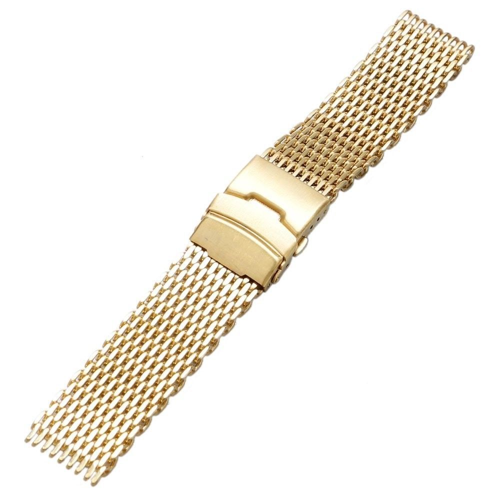 YISUYA Golden 22mm Band Stainless Steel Mesh Web Wrist Watch Band Strap Bracelet - $24.54
