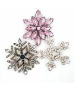 Snowflake Rhinestone Brooch Collection With Vintage OTC Pin - $29.00