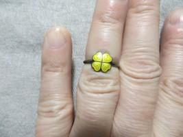 Middle Century MECA Denmark Yellow Lucky Clover Enamel Pinky Finger Ring... - $24.99