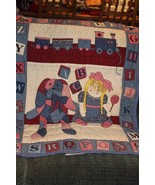 baby quilt handmade hand quilted blues with little pink trains and dolls - $26.73