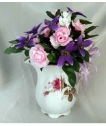 Lovely Handmade Pink/Purple Floral Arrangement in Antique Creamer Pitcher - $29.30