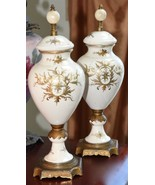PAIR ANTIQUE VICTORIAN FINIALS  PAIR  CREAM HAND PAINTED ACCENTS BRASS F... - $149.99
