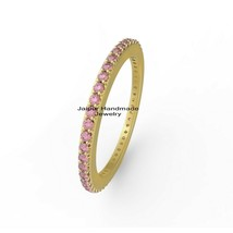 14k Gold  Pink Sapphire Gemstone exclusive Stacking Ring Wedding Band Je... - $433.62