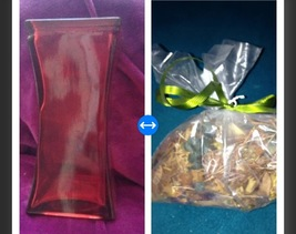 red glass geometric vase with bag Of Citrus Potpourri - $49.99