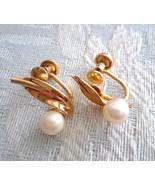 Vintage Signed JF 1/20 12K Gold Filled Genuine Pearl Leaves Screw Back E... - $25.00
