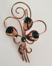 Cala Lily Brooch Copper Green Beads Statement Piece Pin Vintage - $12.99