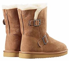 Kirkland Signature Ladies Chestnut Brown Sheepskin Shearling Winter Buckle Boot image 4