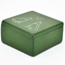 """Vaneal Group Hand Carved Kisii Soapstone Puppy Dog Love Green 3"""" Trinket Box image 2"""