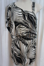 Sandra Darren Dress Sz 10 Tan Black Combo Sleeveless Kimono Sleeve Party... - $58.26