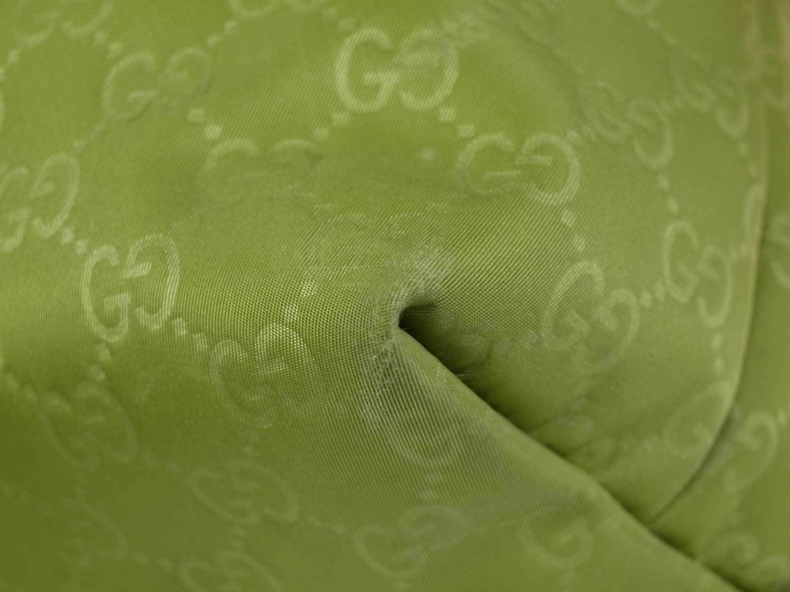 Auth GUCCI GG Pattern Nylon Canvas Leather Yellow Green Tote Bag GS1875