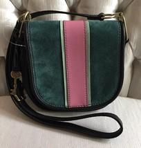 FOSSIL RUMI Alpine Green Crossbody Handbag Saddle Leather/Suede ZB7393307 $158 - $78.00