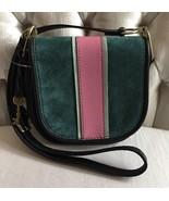 FOSSIL RUMI Alpine Green Crossbody Handbag Saddle Leather/Suede ZB739330... - $78.00
