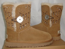 UGG Bailey Button Tehuano Chestnut Suede Boots Size US 5, EU 36 NIB # 1014617 - $108.89