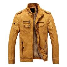 WEBONTINAL PU Faux Casual Man Jackets Men Leather Jacket Male Coats Wint... - $90.68