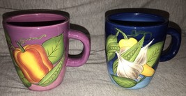 GATES WARE Set of 2 Vegetable design Coffee Mugs Cups Laurie Gates Blue ... - $16.82