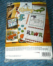 Bucilla Dino Baby Stamped Cross Stitch Dinosaurs Quilt Blocks Set of Six - $13.85