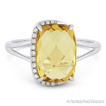 3.52 ct Cushion Cut Citrine & Diamond Right-Hand Fashion Ring in 14k Whi... - £336.05 GBP