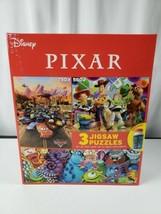 Disney Pixar Cars Toy Story Monster inc LOT Of 3 Jigsaw Puzzles w 5oz Glue Puzzl - $23.02