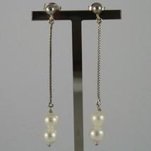 Ohrringe aus Gold Weiß 750 18K mit Perlen Weiß Wasser Dolce Lang 5,5 CM - $331.01