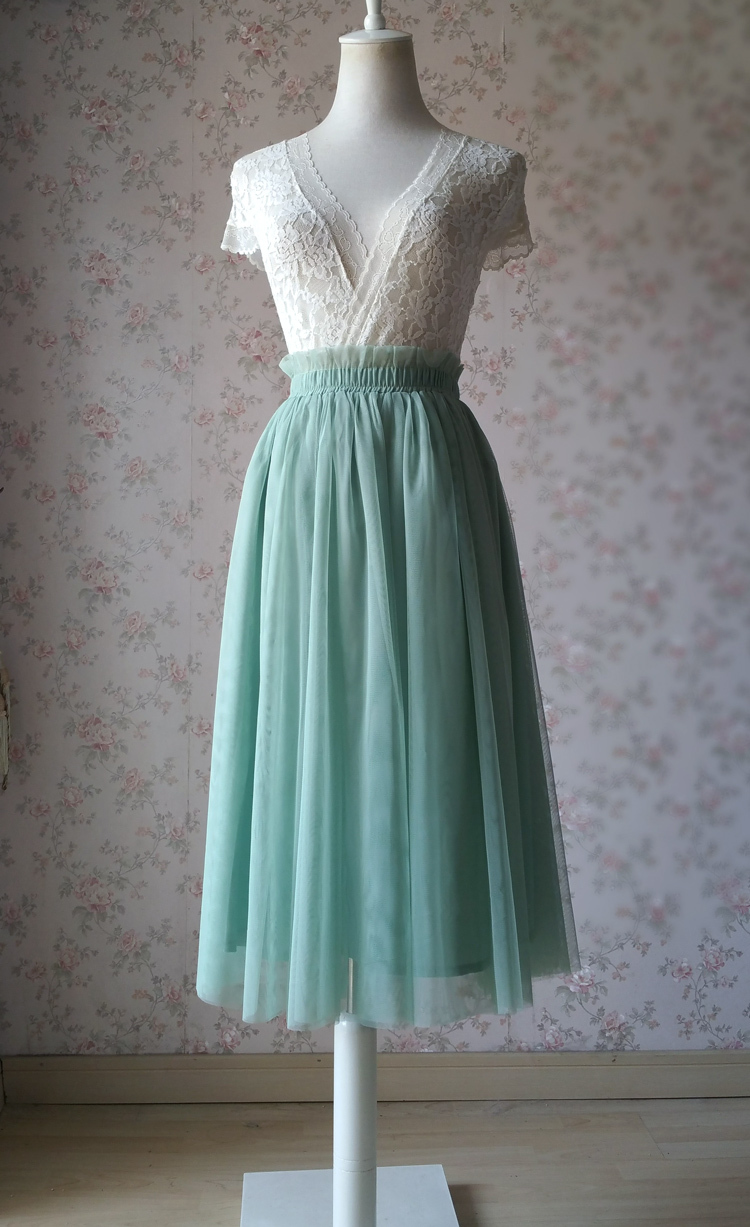 Sage green tulle midi skirt 750 01