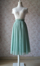 SAGE GREEN Tulle Midi Skirt Sage Bridesmaid Midi Skirt Wedding Outfits US0-US28 image 1