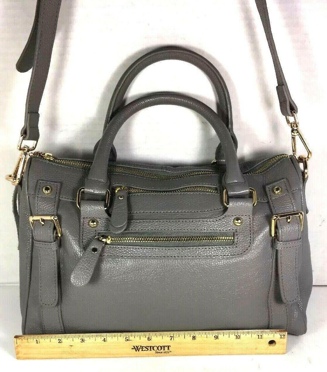 Erica Anenberg Grey Leather Cross Body Satchel Shoulder Bag image 6