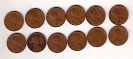 12 US Circulated Wheat Cents  16 19 20 23 24 25 26 27 28 29 30 37 - $14.95