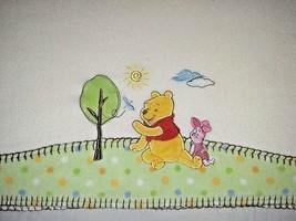 DISNEY Winnie The Pooh Fleece Baby Blanket Unisex 30x40 Piglet Beige Lov... - $17.42