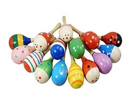 PANDA SUPERSTORE Set of 2 Lovely Baby Toys Sound Toys Wooden Baby Rattles(Random
