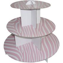"24pk 12"" Pink Zebra 3 Tier Cupcake Stand Display Dessert Tray Stand BULK - $66.34"