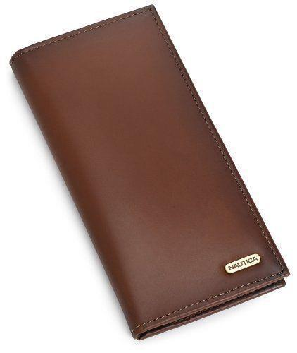 Nautica Men's Leather Secretary Checkbook Wallet Organizer Purse Tan 31NU19X005