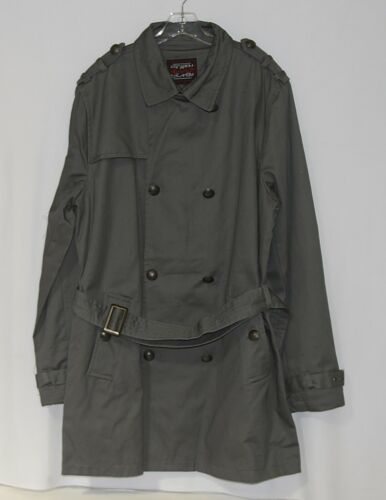 Escapism 6AA05 Charcoal Gray Large Cotton Belted Trench Coat New