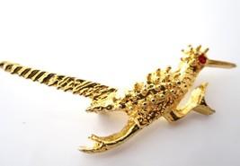 Road Runner Figural Bird Red Rhinestone Eye Vintage Gold Plated Brooch P... - $11.87
