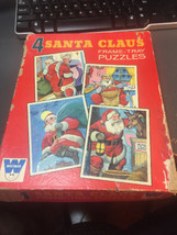 Vtg 1969 Whitman Santa Claus Frame-Tray Puzzles (4) in Box, Made in USA, #4790 - $17.00