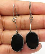 925 Sterling Silver - Vintage Black Onyx Flat Oval Dangle Earrings - E4607 - $24.22