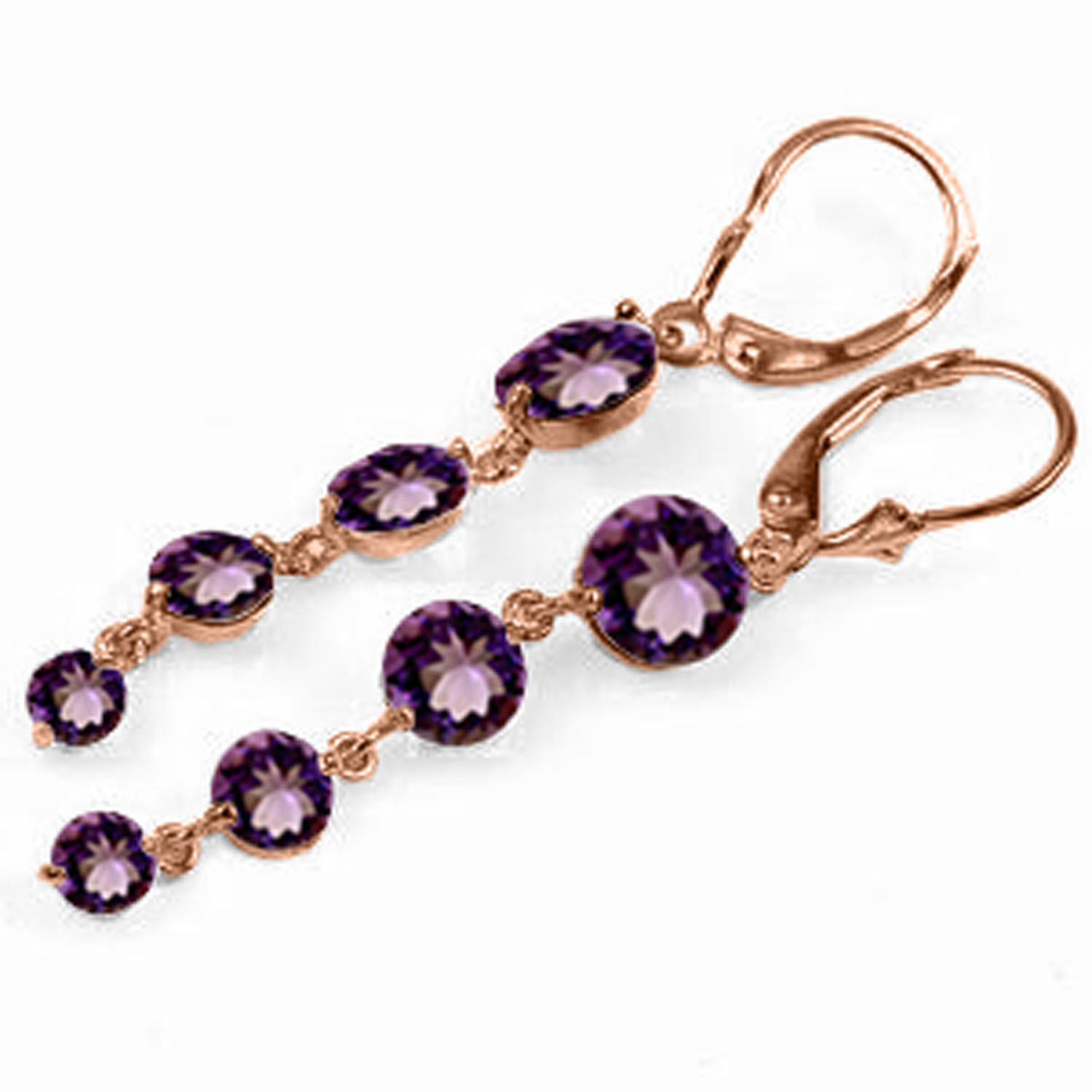 Primary image for 14K Solid Rose Gold Womens Cute Chandelier Fashion Earrings w/ Natural Amethysts