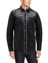 Men's Western Rodeo Style Cowboy Embroidered Tribal Print Dress Shirt image 3