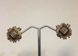 Antique Victorian Taille d'Epargne Rose Gold Filled Screwback Earrings V... - $67.65