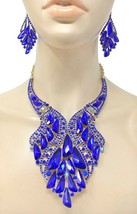 Royal Blue Crystals Bib Statement Evening Necklace Set Drag Set Queen,Pageant  - $61.75
