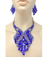 Royal Blue Crystals Bib Statement Evening Necklace Set Drag Set Queen,Pa... - $61.75